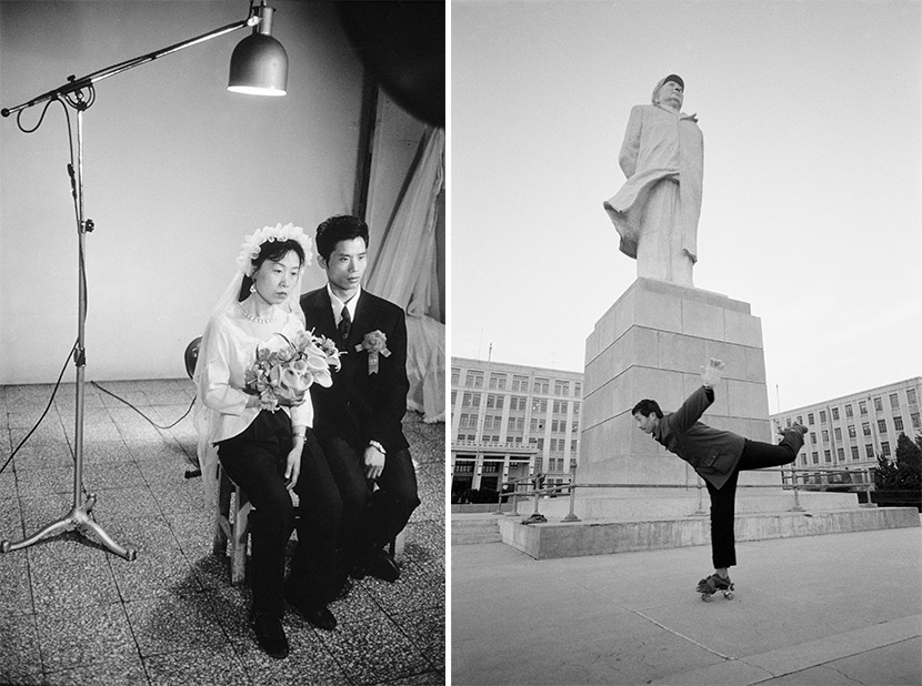Left: newlyweds pose for a photo at a studio in Beijing, 1980. In order to save money, the woman has rented only the wedding veil; right: a student at the Dalian Institute of Technology roller-skates past a statue of Chairman Mao in Dalian, Liaoning province, 1981. Courtesy of Liu Heung Shing