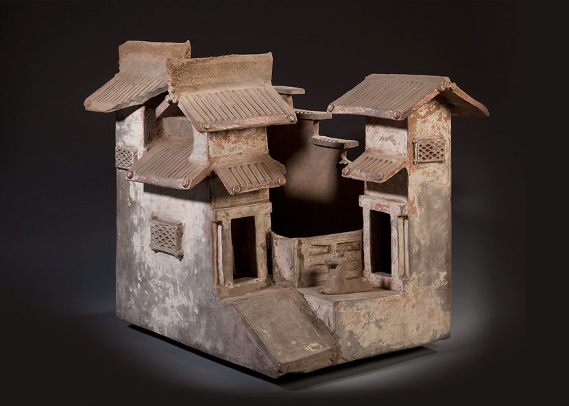 Details of an earthenware model of a house excavated in 1992 from an Eastern Han tomb in Datong, Shanxi province. From Datong Museum