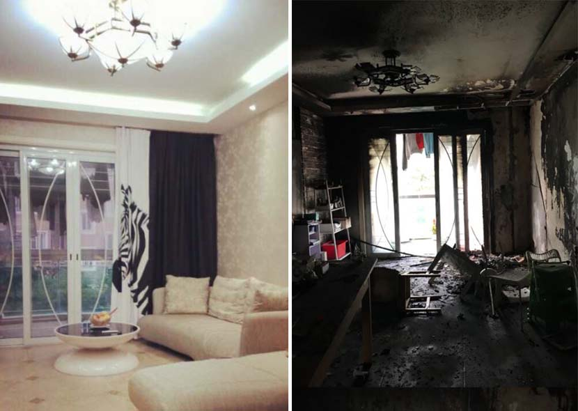 Photos of Wang Guopei's living room before and after the fire. From Wang's Weibo account