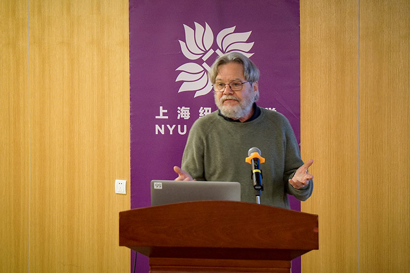 Gordon Mathews gives a speech at New York University Shanghai, March 8, 2018. Courtesy of NYU Shanghai
