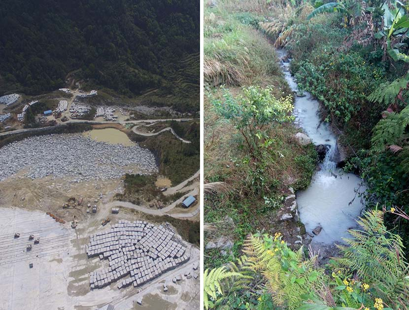 Left: Aerial view of Maoyuan quarry in Dacheng Town, Xinyi, Guangdong province, March 23, 2018; right: Cloudy stream in Dacheng Town, Xinyi, Guangdong province, Dec. 5, 2017. Courtesy of Lei Ping
