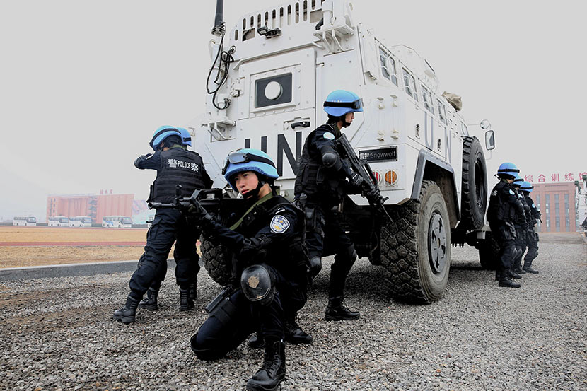 A photo provided by China's UN peacekeeping standby force shows members training in Dongying, Shandong province, Feb. 28, 2018.