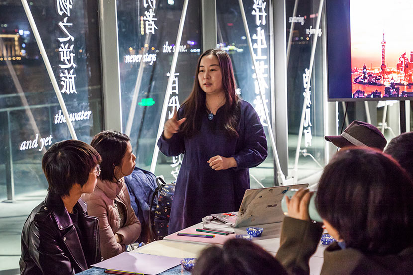 Wang Ying hosts a 'death café' event at Modern Art Museum in Shanghai, Dec. 23, 2017. Courtesy of Modern Art Museum Shanghai