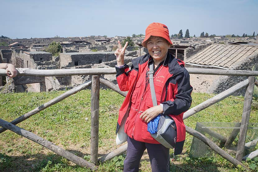 Zhang Hongzhen poses for a photo during a trip to Pompeii, Italy, April 25, 2015. Courtesy of Zhang Hongzhen