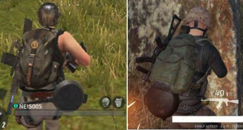 Frying pans worn as butt armor in 'Rules of Survival' (left) and 'PlayerUnknown's Battlegrounds' (right).