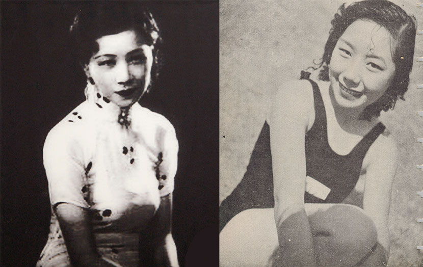 Left: A photo of Ruan Lingyu is displayed at a museum in Nanjing, Jiangsu province, May 1, 2013. Liu Birong/IC; Right: A portrait of a young woman taken by Xi Yuqun is seen in popular women's magazine 'Ling Long,' 1937. Courtesy of Columbia University Libraries